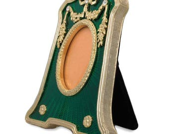 4.5'' Faberge Rectangle with Oval Opening Green Enameled Guilloche Russian Antique Style Picture Frame