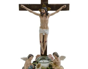 """14.5"""" Jesus and Angels Around Candle Standing Crucifix"""