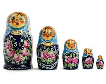 "7"" Set of 5 Blue Floral Dress Girls Russian Wooden Nesting Dolls"