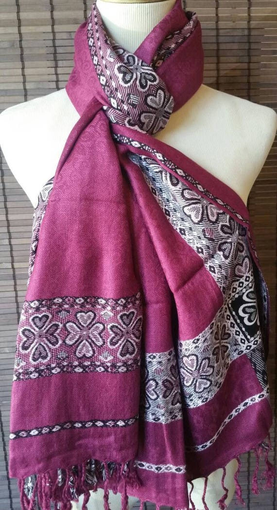 Purple Pashmina scarf, silk scarf, women scarf, Tribal Women Scarf, pashmina scarf, Oversized Scarf, xmas gift for her, blanket scarf