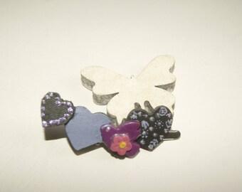 Purple and plum heart hairclip