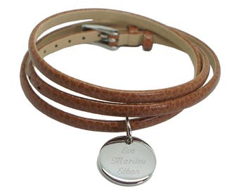 Bracelet wrap around leather and customizable medals