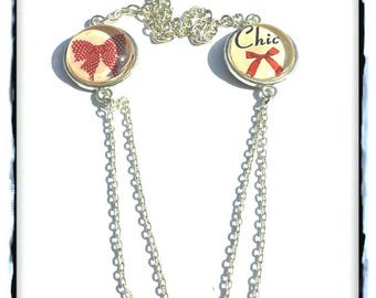 Necklace double chain glass cabochon * Chic * and * Red Bow *-DESTASH