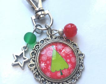 Cabochon silver Keychain * Christmas tree * red and green beads and charm star gift idea