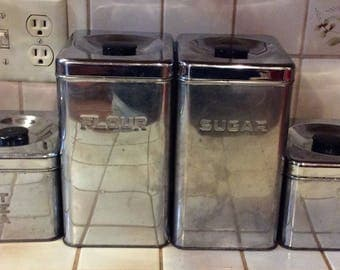 Vintage Lincoln Beautyware Chrome Metal Kitchen Canisters: Flou,r Sugar, Tea, and Coffee