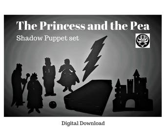 Instant Download, The Princess and the Pea, shadow puppet set