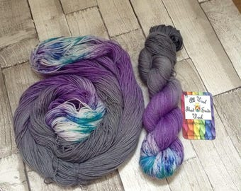 Hand dyed sock yarn sparkle /4 ply 'serenity' speckled superwash merino/nylon /stellina /wool /crochet uk dyer/ shawl yarn