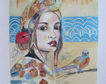 """""""the woman and bird"""" watercolor painting"""