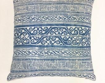 Vintage Chinese Indigo Pillow, Faded Blue with white Tribal Print, Boho or Coastal Style