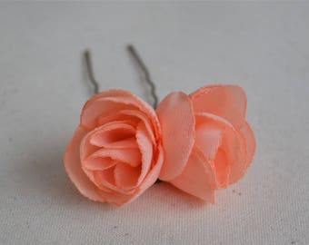 Pink flower hair clip, peach bridesmaid hair clip, pink hair flower, blossom, flower hair accessory, girls hair clip, coral hairpin