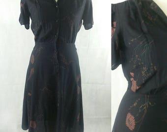 1990s Black Cotton Shirt Dress. Pink flower print. Short Sleeves. Size 10  Bust 42