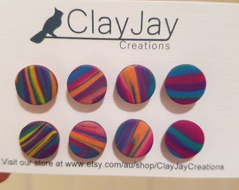 Multi-colour polymer clay earrings- While stocks last!