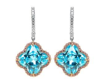 Sparkling Blue Topaz Flower Earrings