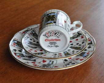 Vintage 'Cut for Coffee' Elizabeth trio coffee can Playing Cards 1960s