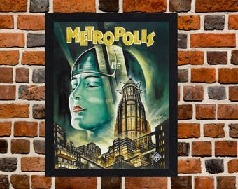 Framed Metropolis Fritz Lang Classic Science Fiction Movie / Film Poster A3 Size Mounted In Black Or White Frame