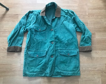 Vintage green canvas chore coat / unlinedthree pocket barn coat / button up jacket / women's small