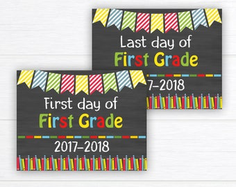 Back to School Sign, School Sign Prop, First Day of First Grade Sign, Chalkboard Sign, First Day of School 1st Grade,  Instant Download