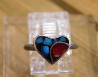 Sterling Silver Heart Shaped Coral and Turquoise Ring