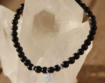 Obsidian with heart silver bracelet