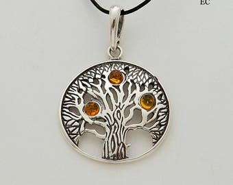 Pendant silver and amber tree of life