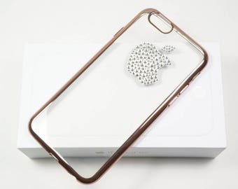 "Clear Transparent TPU Gel Pink Chrome Frame Case Cover with Clear Swarovski Bling FOR iPhone 7/8 (4.7""), or 7Plus/8Plus (5.5"")"