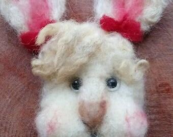 Felted animal, needle felted bunny brooch
