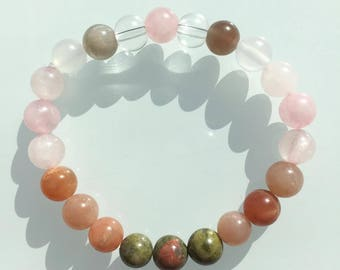 Fertility Bracelet, Healing Bracelet, Fertility Jewelry, Crystal Healing Jewelry, Yoga Jewelry, Moonstone, Rose Quartz, Unakite, Sunstone