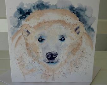 Greetings Card - POLAR BEAR. 130 x 130mm. From a painting by Pauline Merritt