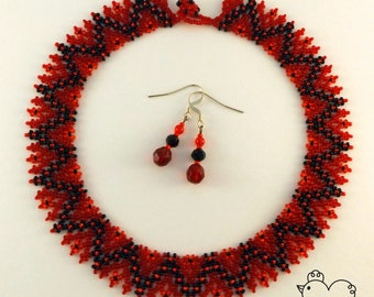 Traditional Csango Style Beaded Necklace + FREE Earrings