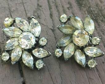 Mid-century Claudette rhinestone clip on earrings. Ship free