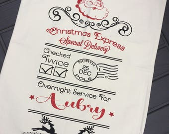 Personalized Santa sack, canvas Christmas bag