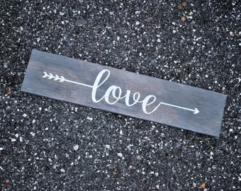 Rustic Love Sign | Wooden Love Sign | Arrows Wall Decor | Farmhouse Love Sign | Rustic Love Plaque | Rustic Wall Decor | Rustic Wall Sign