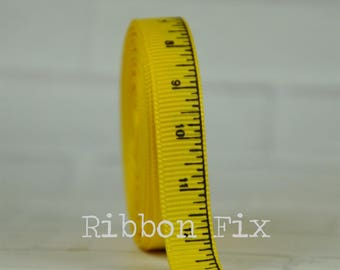 "2 + yards 3/8"" Yellow Ruler Print Grosgrain Ribbon - Fall School Bow - Teacher Gift - Baby Shower Game - Measuring Tape - Dog Collar Leash"