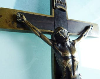 French Cross Art Deco Religious Bronze Mural - Jesus Christ Corpus Crucifix - Large Bronze Wall Crucifix -