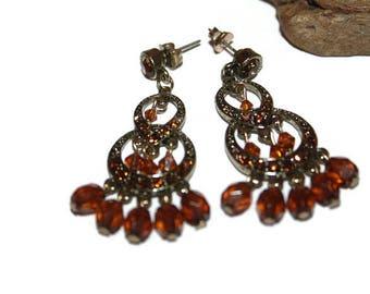 Vintage Boho Earrings, Boho Jewelry, Bohemian Jewelry, Bohemian Earrings, Antique Bronze and Brown Earrings, Beaded Earrings, Dangly