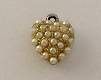 Victorian Pave Seed Pearl Heart Charm