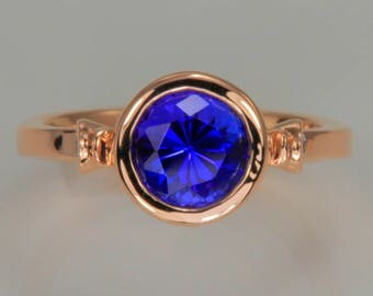 Rose Gold Tanzanite Ring With Exceptional Tanzanite