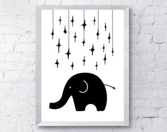 Hand drawn, monochrome, black and white elephant, Printable, illustration, kids  poster, Scandinavian style Art, nursery decor,