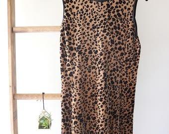 Vintage Liz Claiborne Leopard Print Dress - Grunge, Hipster, Urban, Vamp, Glam, Classic - Plush Texture - Satin Trim