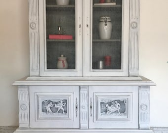 Refurbished Vintage Hutch/ China Cabinet with unique carvings