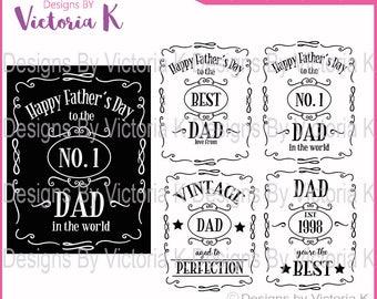 2 Frames included - Father's Day svg, Dad svg, Vintage Dad, Dad Clipart, SVG, DXF, EPS Files, Cricut Design Space, Vinyl Cut Files