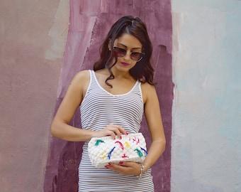Boho Ethnic Clutch, Zip Clutch Handbag, Mexican Purse, Mexican Clutch, Gift For Girlfriend, Tshirt Yarn Bag, Zip Handbag, Gift For Her, Gift