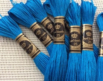Skeins of electric blue cotton, sold in sets of 10