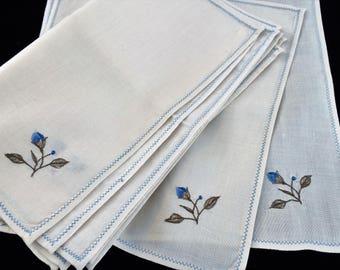 Linen Napkins. Vintage Napkins. Set of 12 Vintage Ivory, Blue and Green Floral Machine Embroidered Linen Napkins. Something Blue RBT2919