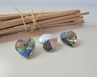 8 charms coeulr glass faceted multicolored 14 mm - 1 mm hole - 1.22