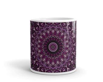 Decorative Coffee Mug, Purple and Pink Mug, Hand Printed Cup for Coffee or Tea, All Occasion Gift