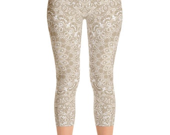 Beige Yoga Capris, Khaki Yoga Pants, Cream Leggings for Women, Capris Neutral Printed