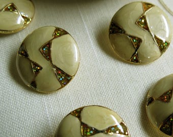 Modernist Confetti Enamel Button Set of 6 Gold Tone Metal Shank Buttons.