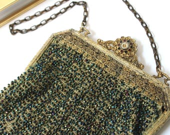 Vintage Beaded Purse, Flapper Style Purse, Beaded Bag with Fringe