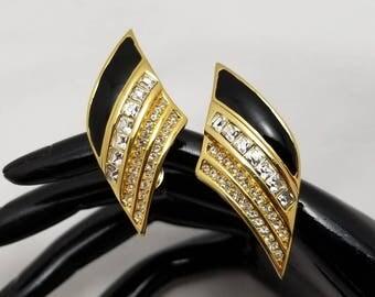 CHRISTIAN DIOR Black Enamel Earrings